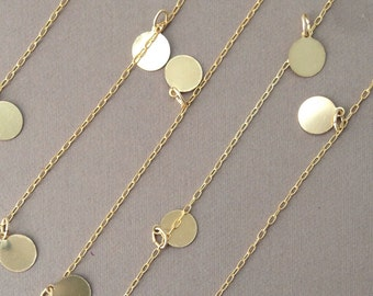 Long Gold Fill Discs Round Dot Necklace