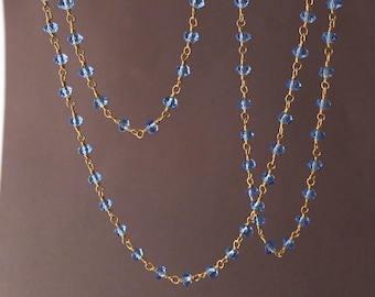 Long or Short Blue Iolite Stone Gold Beaded Necklace