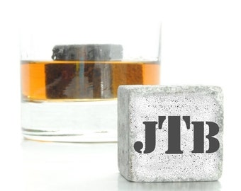 Custom monogrammed whiskey stones - Personalized whiskey stones - Personalized Scotch Rocks - Great Groomsman Gift - gift for groomsman