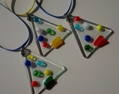 Christmas Trees - Set of 3 Handmade Fused Glass Holiday Decorations