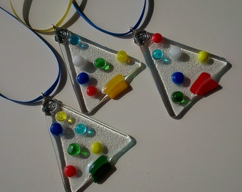 Set of three Fused Glass Christmas Trees - 3 Handmade Hand Crafted Holiday Decorations