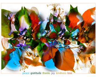 "Gratitude Assembly Boxed set 8 Cards 4.25x5.5"" A2 Peace Retro Cards Floral Christmas Cards"