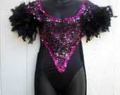 Vintage DELUXE Leotard Dance Costume with Sequins, Fringe, and Feathers. Open Back. Burlesque, Circus Girl, Showgirl. Adult Large