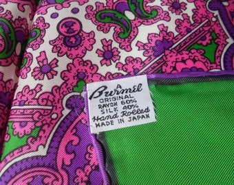 """Vintage silk Scarf Hand rolled Burmel Scarf Purple and Green Made in Japan Womens Head Scarf Accessory 23"""""""