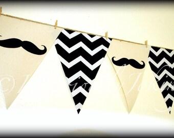 Mustache Banner-Little Man Party-Baby Shower Banner-Party Banner-BLACK Chevron-Little Man-Mustache Party-Mustache Banner