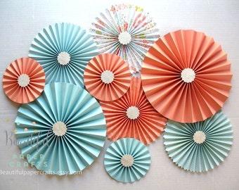 9 pc Aqua Light Coral Silver Glitter Rosettes| Paper Fans Backdrop | Coral Wedding Decor | Aqua Paper Rosettes | Candy Buffet Decor