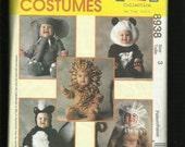 McCalls 8938 Little Kids Animal Costumes Pattern Skunk Elephant Panda & More Size 3 UNCUT