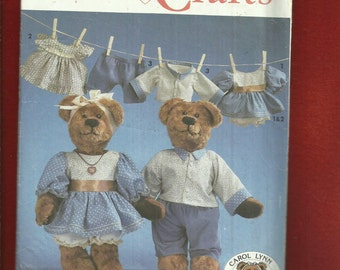 Simplicity 7473 Collector Style Bears with Dress for Her & Shirt and Pants for Him  Size 16 Bear UNCUT