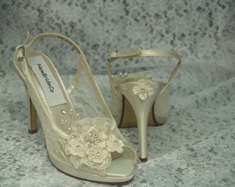Size 9 1/2 Lace Wedding Shoes IVORY 3.5'' heel Ready to ship slingback,Peep Toes pearls crystals heart,Modern Cinderella See Thru Lace Pumps