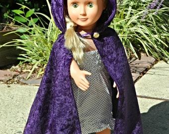 "Frozen Elsa Inauguration Inspired Cloak Cape for American Girl 18"" Doll Cosplay - Raven Anna Princess Witch Merida Hobbit Elf"
