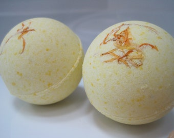 2 Ylang Ylang Scented Bath Bombs with Handmade Soap Inside
