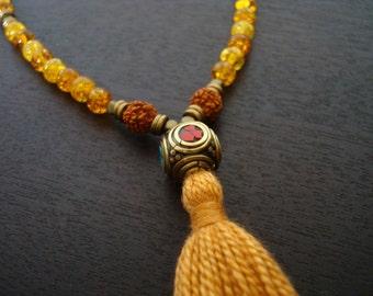 Baltic Amber Tassel Mala // 108 Bead Baltic Amber Healing Mala Necklace and Wrap Bracelet // Yoga, Buddhist, Prayer Beads, Jewelry