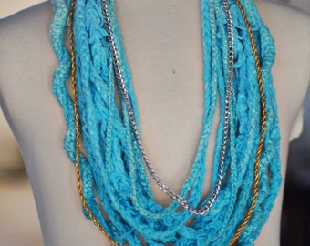 INFINITY OMBRE SCARF necklace blue gold silver dip dye one of a kind ready to ship statement fiber art
