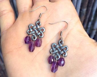 Gwydion - Celtic Knot & Amethyst Earrings