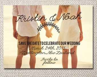 Retro style save the date printable invite - with photo