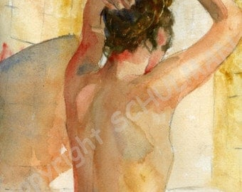 nude figure | Female Nude Art | Signed artistic nude PRINT from watercolor painting | figurative art