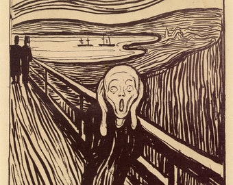 Fine Art Reproduction. The Scream - 'Geschrei' Lithograph,1895 by Edvard Munch. Fine Art Print.