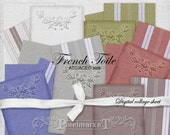 French Toile Linen Backgrounds Digital Collage Sheet for Aceo Scrapbooking Web Card Making Printable Download Vintage Ticking Fabric  c12