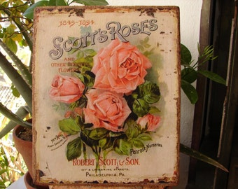 shabby chic Victorian pink roses seed packet, nurseries image, label, wooden sign or plaque to hang