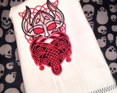 Embroidered tea towel kitchen towel, housewares hand towel, Viking black and red Norway Sweden beard
