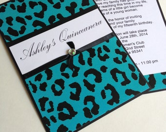 Quinceanera Sweet15 birthday invitations Quince invite Leopard Teal