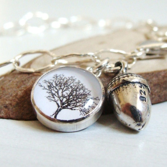 Mighty Oaks From Little Acorns Grow - Sterling Silver Charm Bracelet with Silver Acorn Charm and Woodland Tree Charm - Teachers Gift