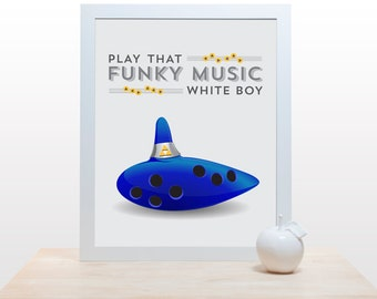 Play that funky music white boy - Poster print for gamer ocarina music video game cobalt blue lullaby