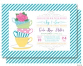 Sip and See Invitations, Sip n See Baby Shower Tea Invitation, Printable or Printed