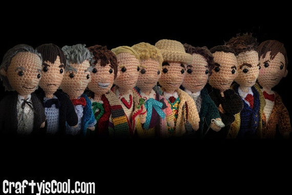 Mega Set of 14 - All 12 Doctors Who Time Travel plus War Doctor and TARDIS Crochet Amigurumi doll dolls PATTERNS Doctor plus Police Box