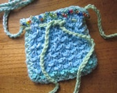 Small Hand-Knitted Cotton Purse / Pouch in Blue Green Turquoise with a Strap and Small Multicolor Beads