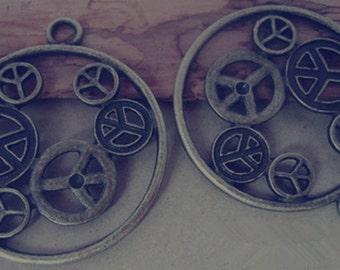 6pcs  Antique bronze Peace symbol pendant charm 42mm