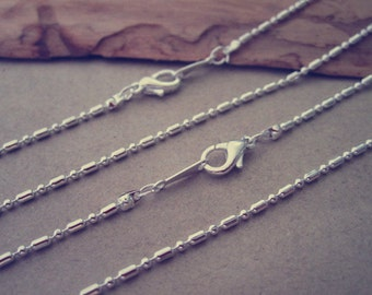 50pcs  1.50mm 17inches 1:1 silver color necklace chain With lobster Clasp