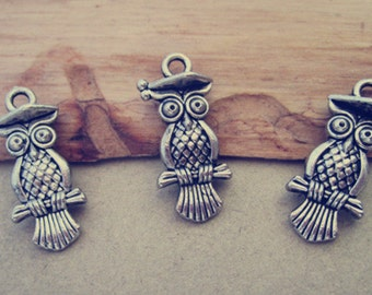 20pcs Antique Silver owl Charms pendant  10mmx22mm