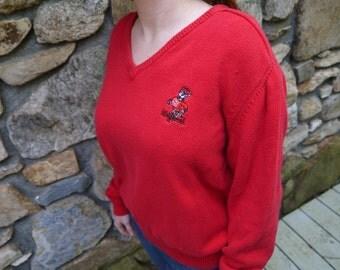 Vintage NC State Wolfpack College University V Neck Sweater