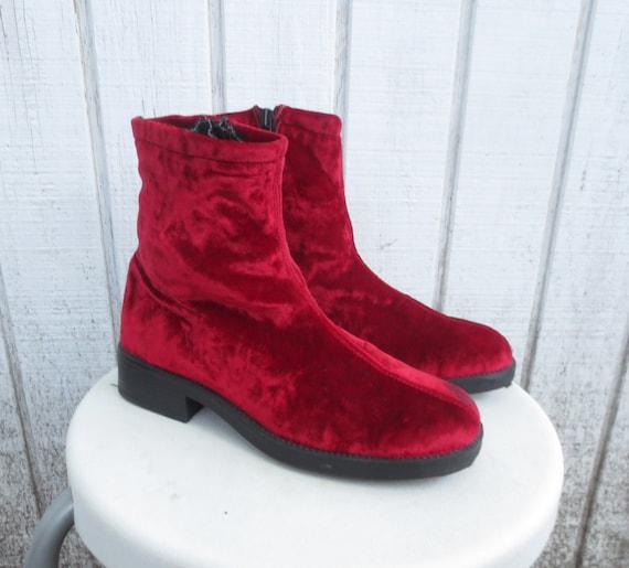 Cyber monday sale red velvet boots vintage crushed velvet 90s boots