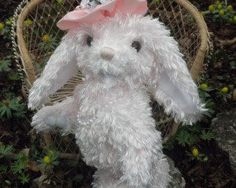 Pink Bunny, Easter Bunny, artist bear rabbit, plush jointed bunny