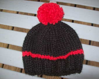 Hand knit,red,black,hat,babies,boys,boy,girl,girls,gift,newborn to 3 months,photos,sports