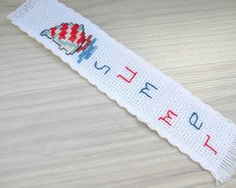 Sailboata summer Handmade bookmark, summer cross stitch ship, embroidery nautical bookmark, booklover's teacher's gift