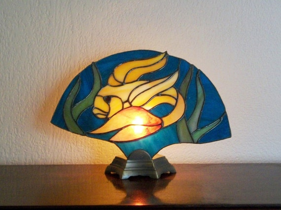 Stained Glass Goldfish Fan Lamp
