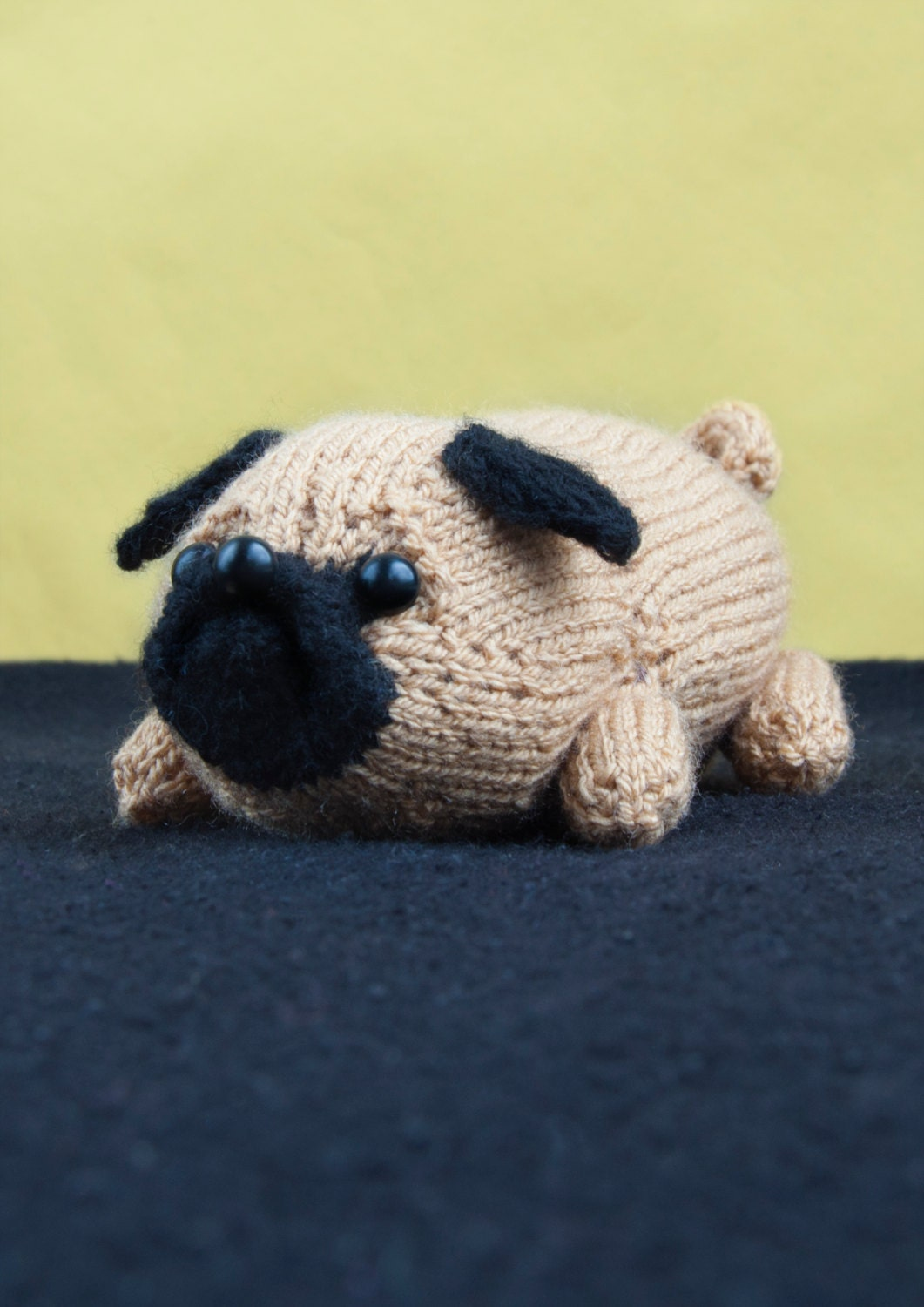 Knitted Pug Pattern : PDF Pattern Jolly The Pug Toy Dog Amigurumi DK Knitting