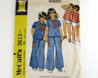 Vintage Childs Shirt, Pant and Shorts Pattern - McCall's 3613 - Size 2