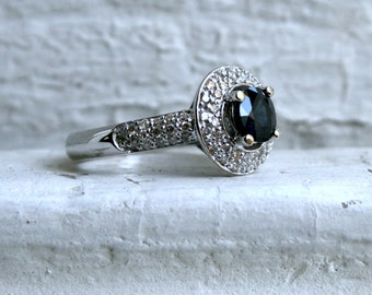 Vintage 14K White Gold Pave Diamond and Sapphire Halo Ring - 1.89ct.