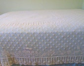 On Sale! Simply Gorgeous Cream White Crochet Bedspread with Popcorn Texture, Full Size, Wonderful Condition