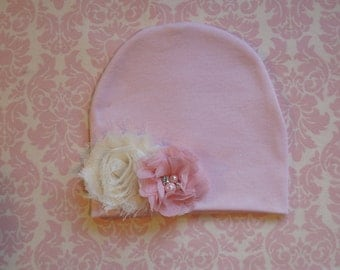 Newborn light pink beanie with your choice of flowers/ Newborn hospital beanie
