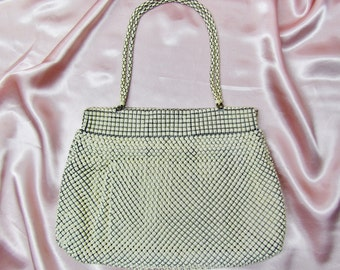 Vintage mesh purse,  Whiting and Davis off white mesh purse