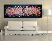 "56""  Original Abstract  Large Painting Acrylic Painting Modern Art  Handmade by Carola, 56""x20"" FREE SHIPPING"