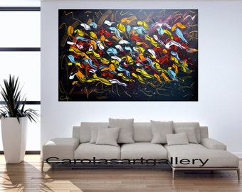 "Colorful abstract painting original painting  Acrylic Painting by Carola 36"" x 24"""