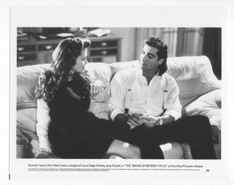 Vintage 1991 Photograph  Ken Wahl Harley Jane Kozak 8x10 Black and White Photograph - Studio Promotion - The Taking Of Beverly Hills