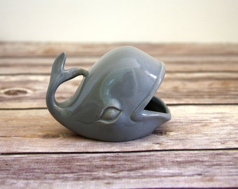 Whale Ring Holder - Grey Ceramic Whale from 1960's Mold - Gray Jewelry Holder - Vintage Whale - Nautical Decor / Midcentury Modern Decor