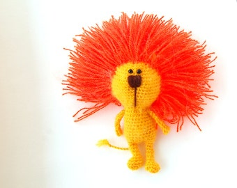 Crochet toy Lion Amigurumi yellow orange eco friendly toy
